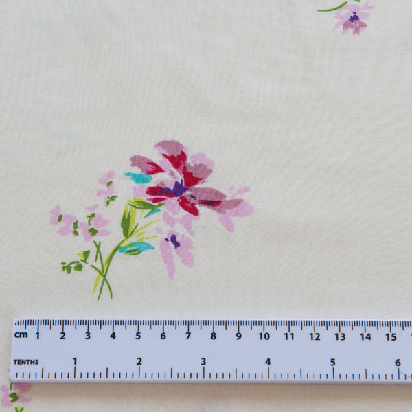 Floral Posy Viscose in Cream