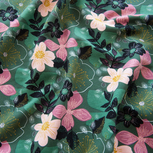 Floral Sweatshirt Fabric in Green