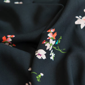 Floral Posy Viscose - Black - 64cm Piece - Sale