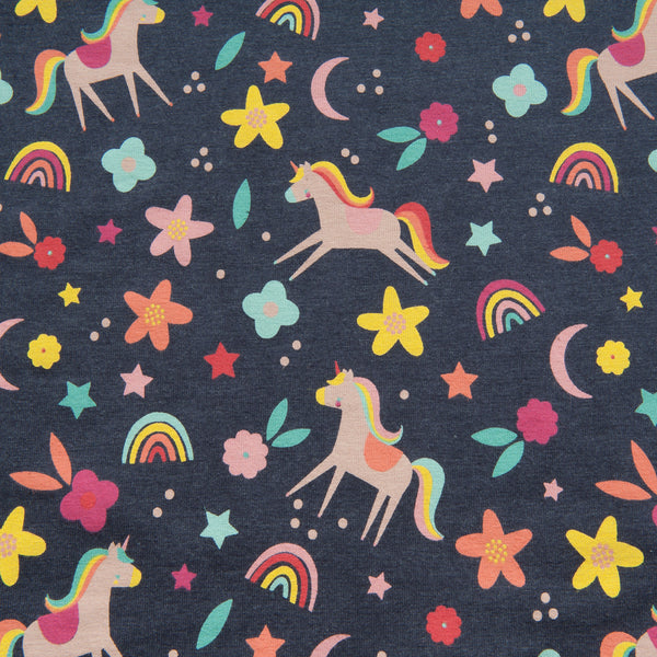 Flower Unicorn Power Jersey in Indigo
