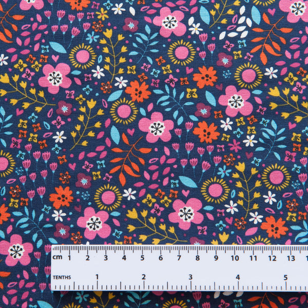Flowers Cotton Jersey in Navy