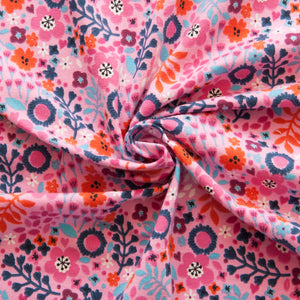 Flowers Cotton Jersey in Pink