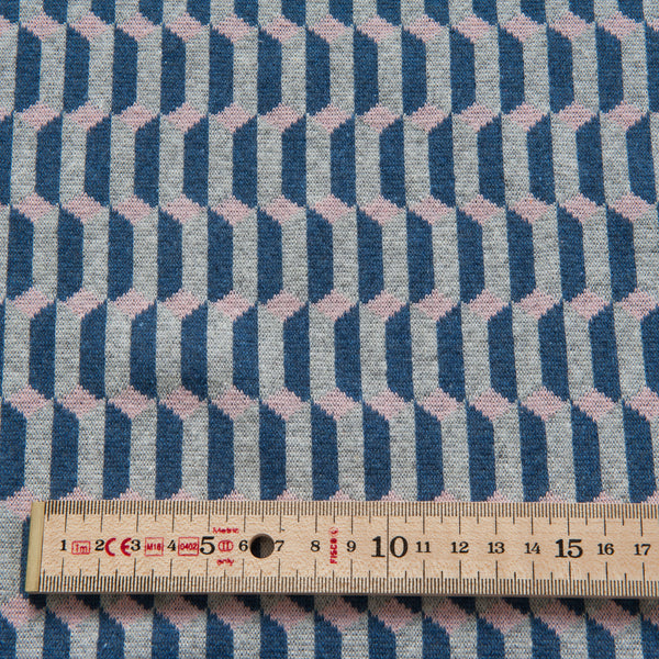 Geo Towers Recycled Cotton Jacquard Knit Fabric in Blue