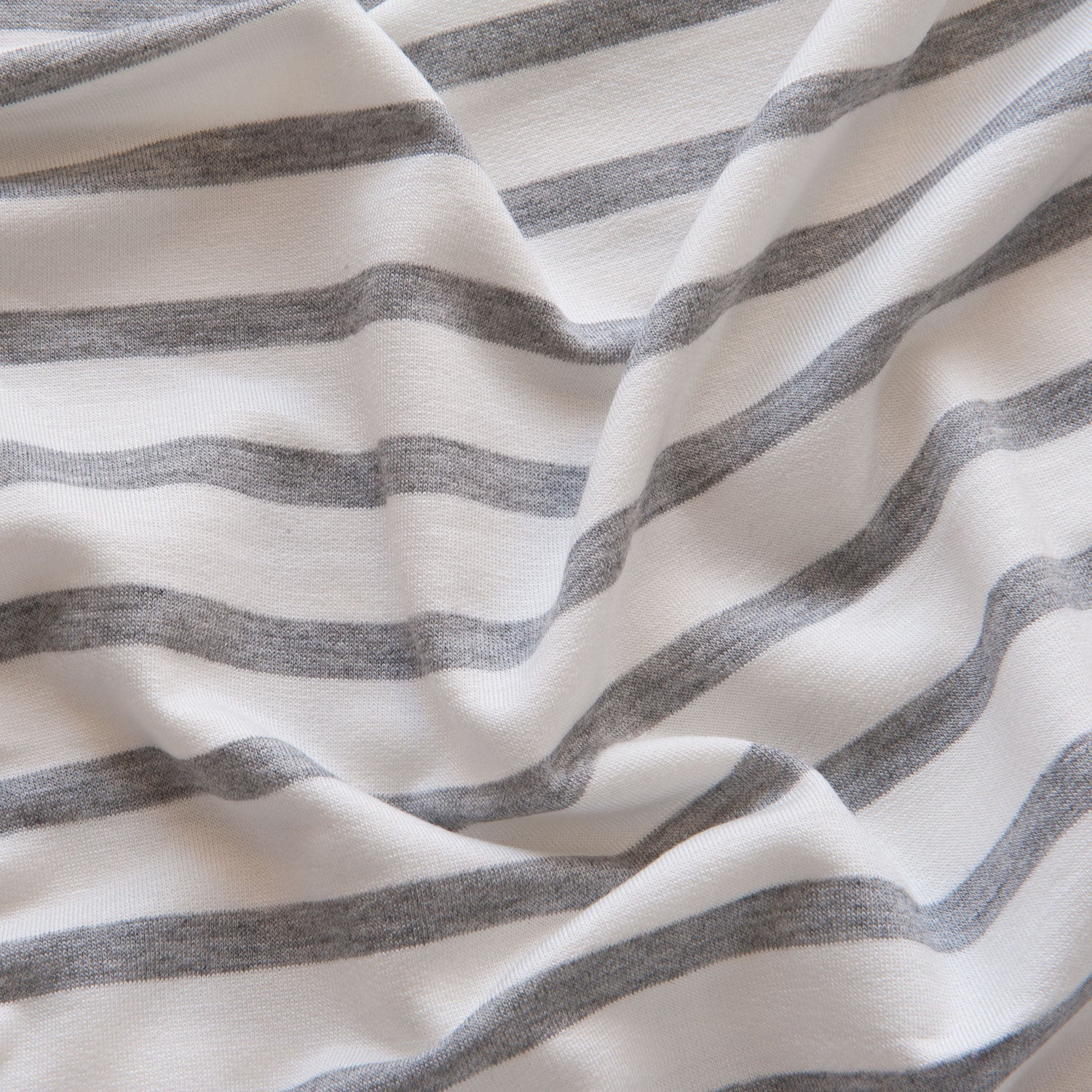 Grey and Ivory Striped Loopback Jersey