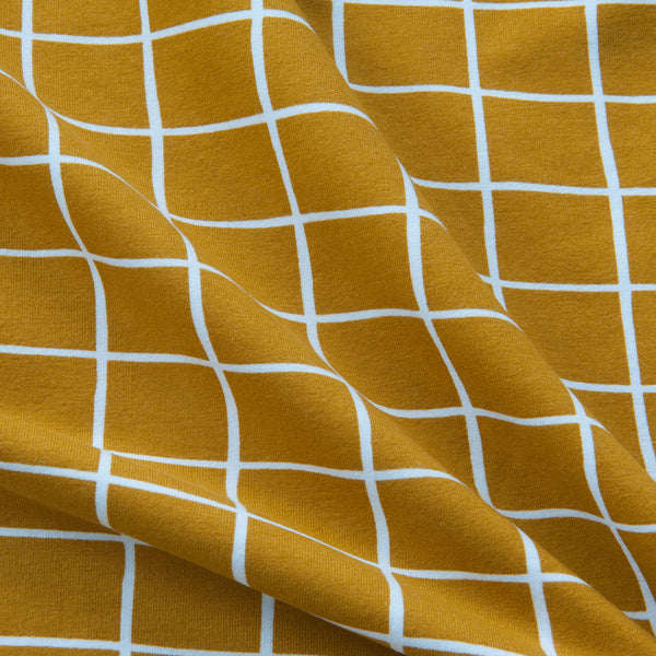 Grid Organic Cotton Soft Sweat in Mustard