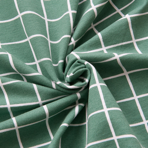 Grid Organic Cotton Soft Sweat in Green