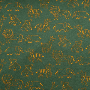 Happy Animals Organic Cotton Sweatshirt Fabric in Dark Green