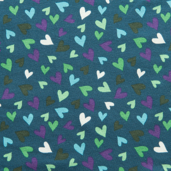 Hearts Cotton Jersey in Teal