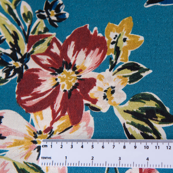 Lady McElroy Moorside Array Viscose Crepe Dressmaking Fabric - Teal