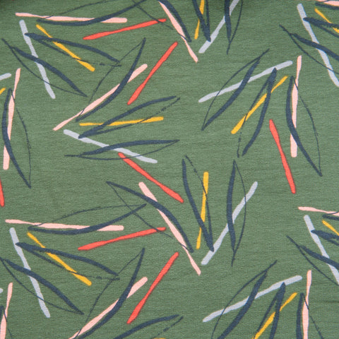Leaves French Terry in Green - 50cm Piece