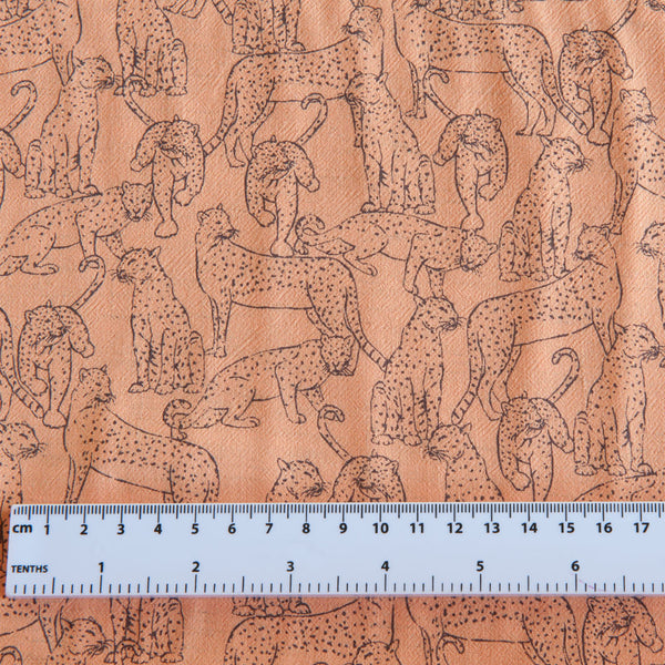 Leopard Viscose Linen in Peach