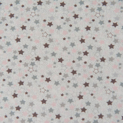 Light Grey With Pink and Grey Stars Cotton Jersey by Stof Fabrics