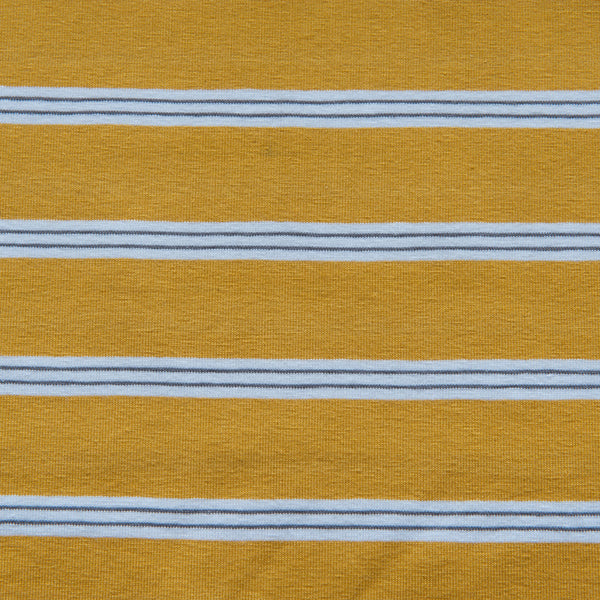 Mustard With Grey and White Stripes Cotton Jersey