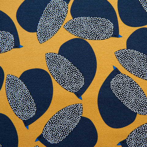 Mustard Birds Cotton Jersey Dressmaking Fabric