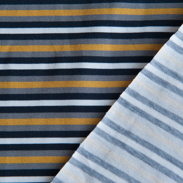 Mustard, Grey, White and Black Striped Cotton Jersey by Stof Fabrics