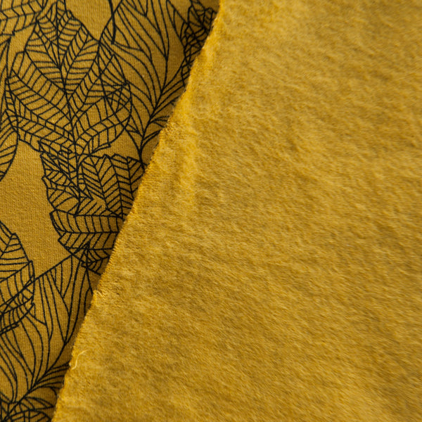 Mustard Leaves Brushed Back Sweatshirt by Stof Fabrics
