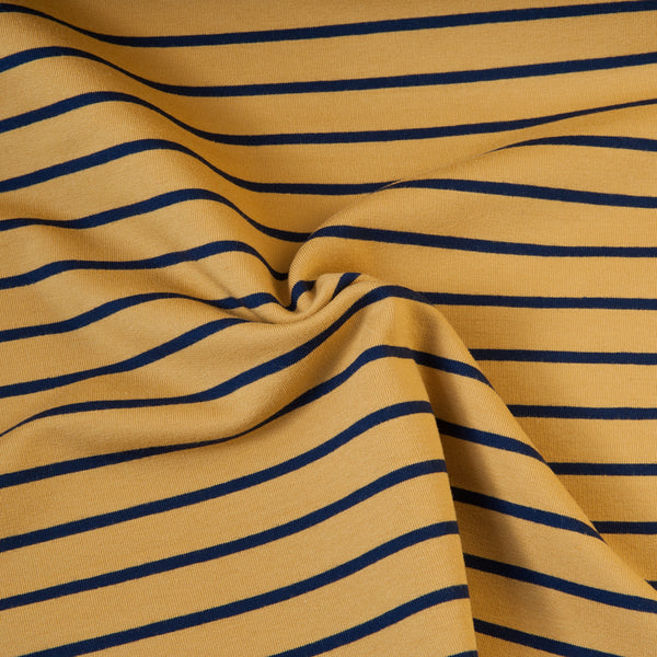 Mustard and Navy Striped French Terry - 45cm piece