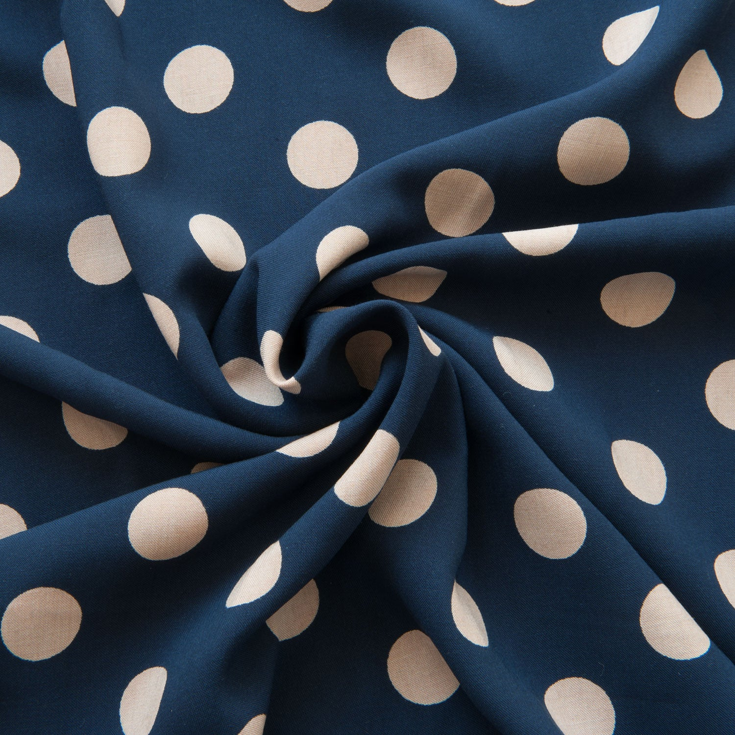 Navy With Taupe Polka Dots Viscose - 85cm Piece
