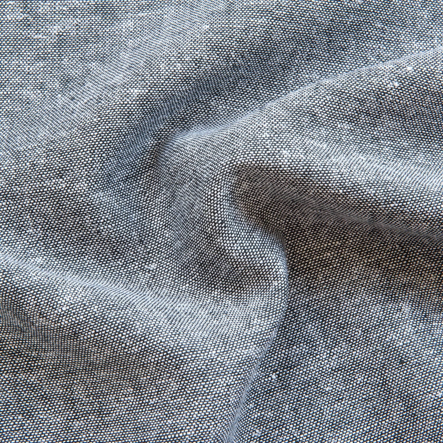 Navy & White Melange Viscose Linen - 1m Piece