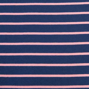 Navy and Pink Striped French Terry - 2.4m Piece