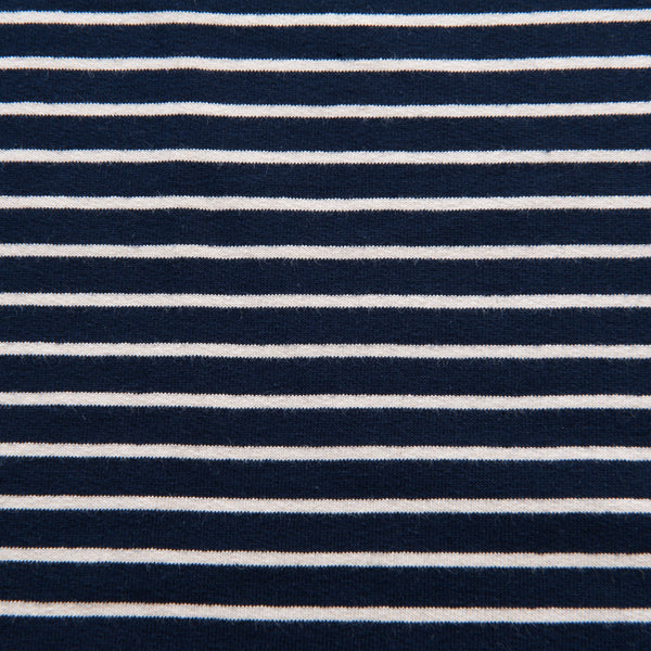 Navy and Ecru Striped French Terry