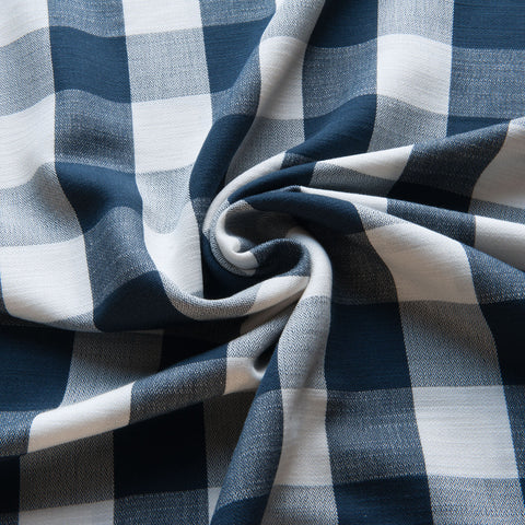 Navy and Ivory Check Cotton Viscose