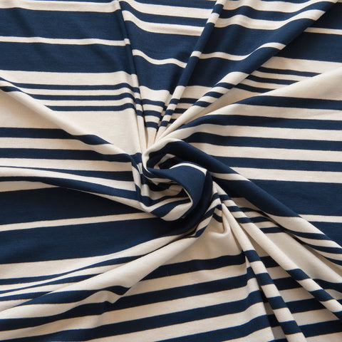Navy and Ivory Striped Viscose Jersey