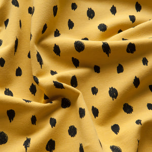 Painted Dots Sweatshirt Fabric in Ochre
