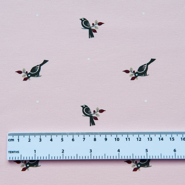 Pink Birds Organic French Terry Sweatshirt - 1.5m Piece