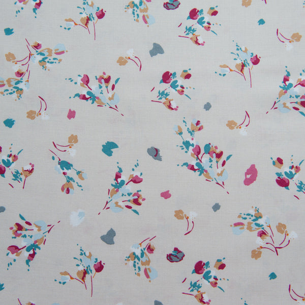 Pretty Floral Viscose in Stone Dressmaking Fabric