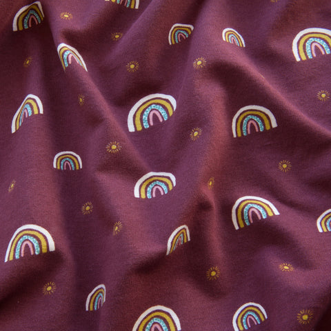 Rainbow Sweatshirt Fabric in Berry