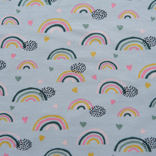 Rainbows and Hearts Cotton Jersey
