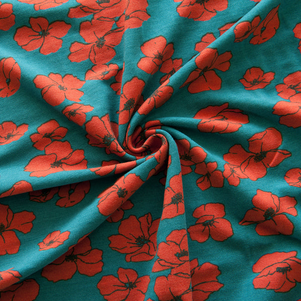 Red Poppies Tencel Modal Jersey in Teal