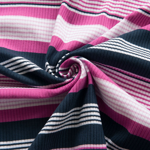 Ribbed Striped Jersey in Pink