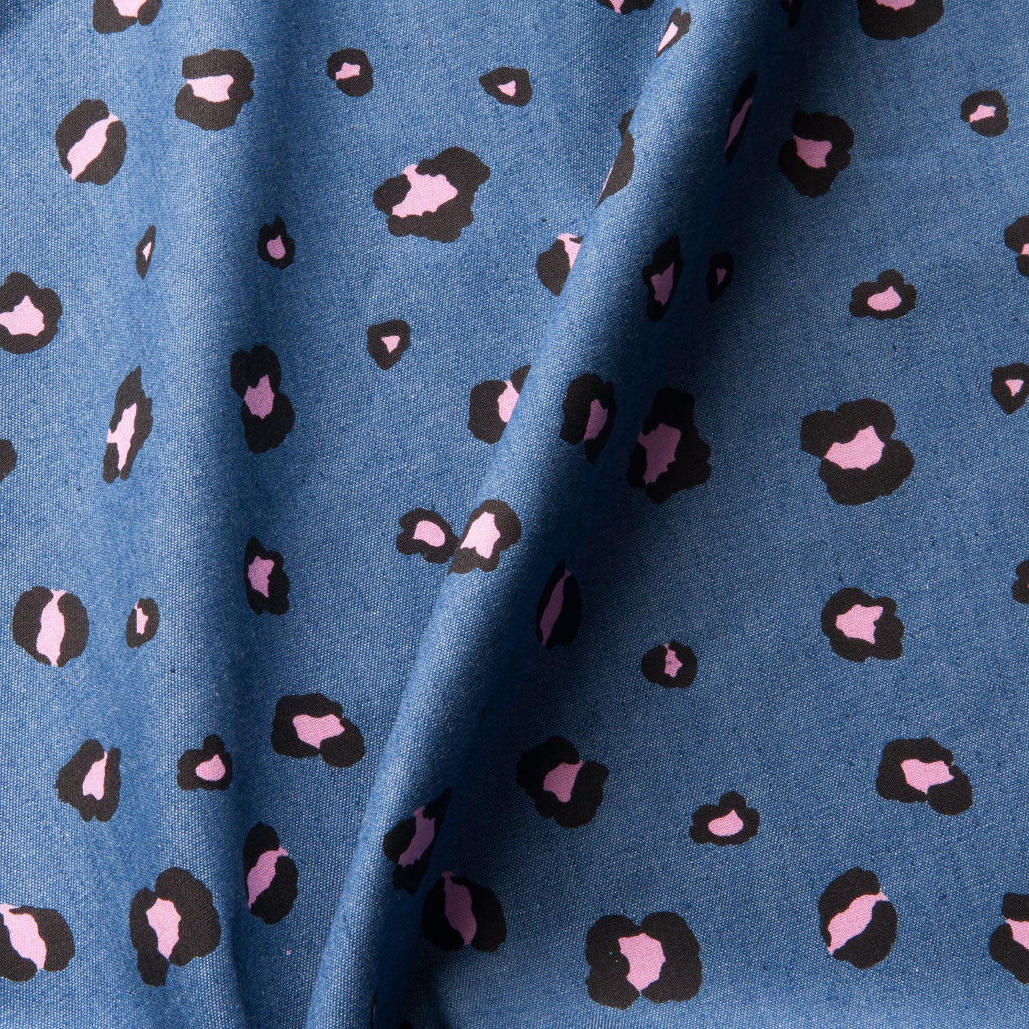 Rose Leopard Cotton Chambray