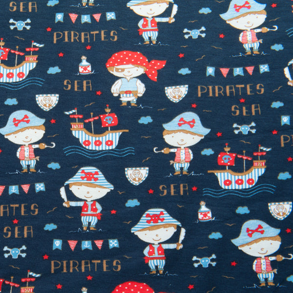 Sea Pirates Cotton Jersey in Navy