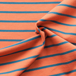Terracotta And Denim Blue Striped French Terry