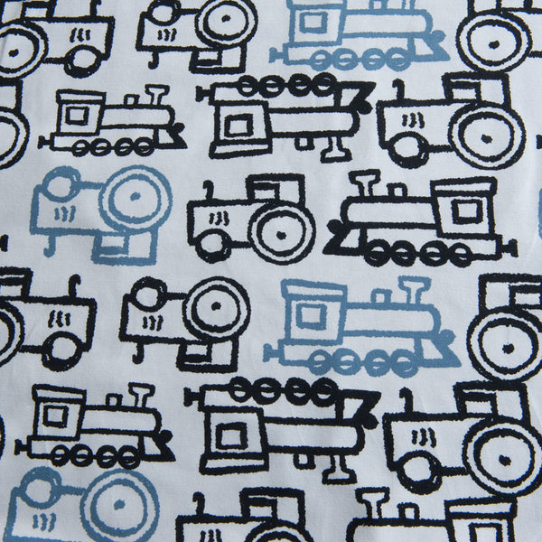 Train and Tractor Cotton Jersey by Stof Fabrics