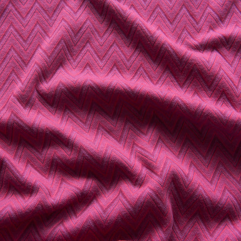 Zig Zag Jacquard Jersey in Pink