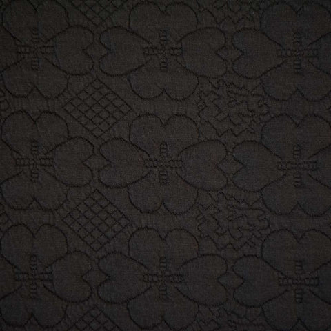 Daisy Stamp - Black Floral Embossed Ponte Roma - 65cm Piece