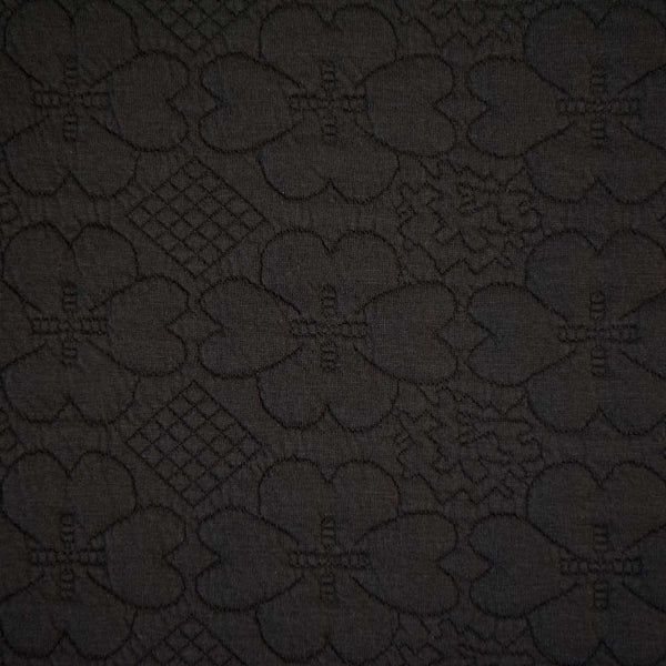 Daisy Stamp - Black Floral Embossed Ponte Roma