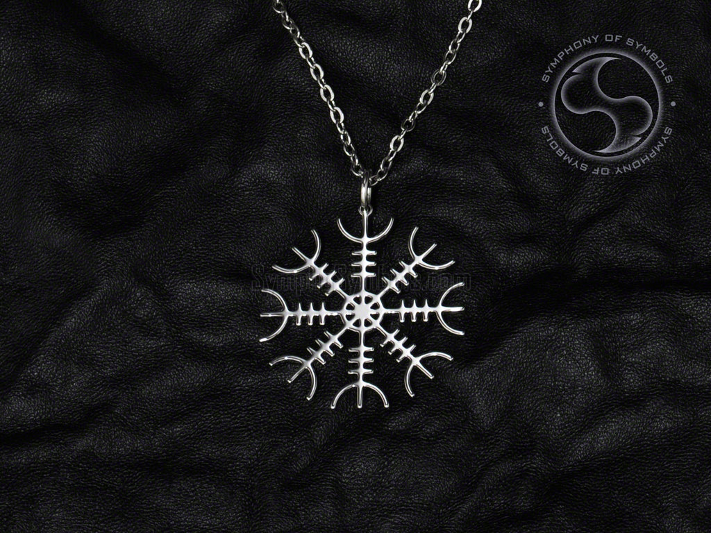 Stainless Steel Necklace with Viking Aegishjalmur Symbol