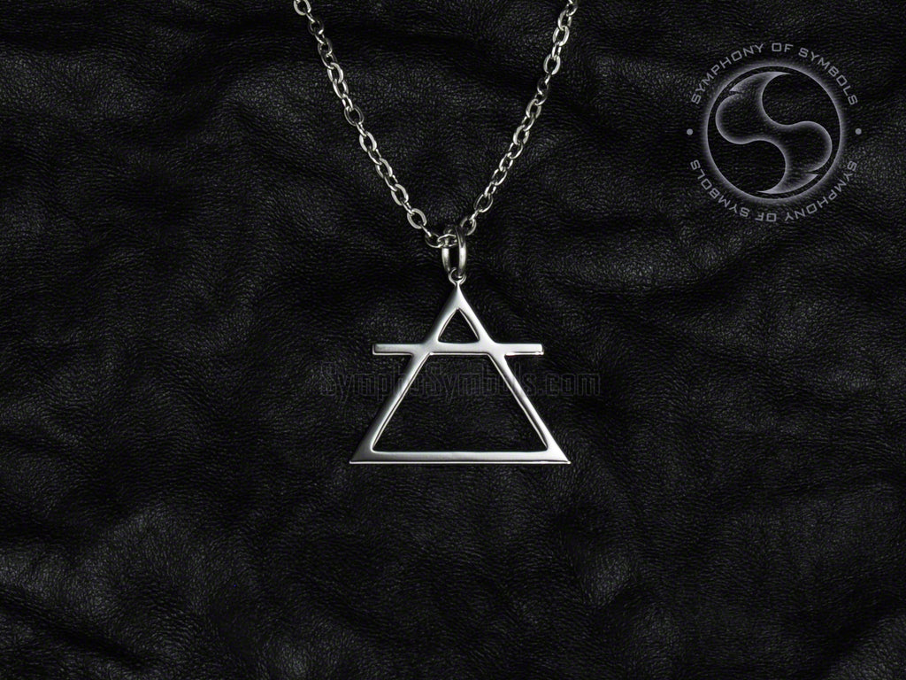 Stainless Steel Necklace with Alchemy Air Symbol