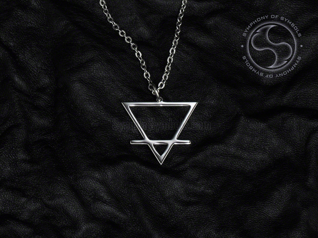 Stainless Steel Necklace with Alchemy Earth Symbol
