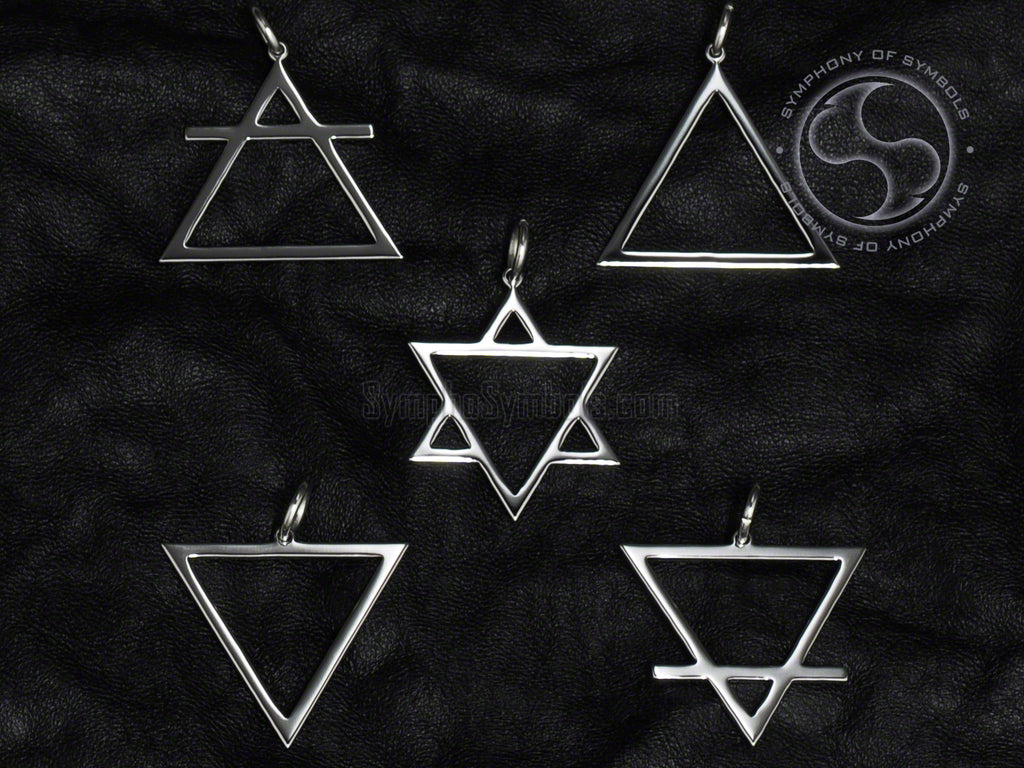 Stainless Steel Necklaces with Alchemy Elements Symbols