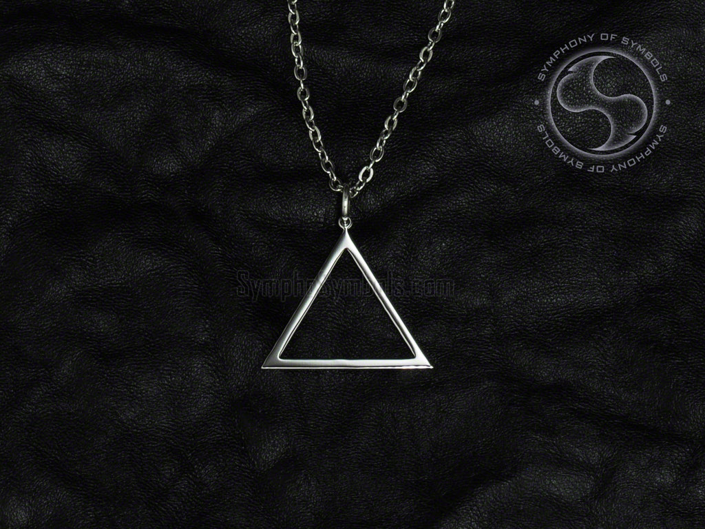 Stainless Steel Necklace with Alchemy Fire Symbol