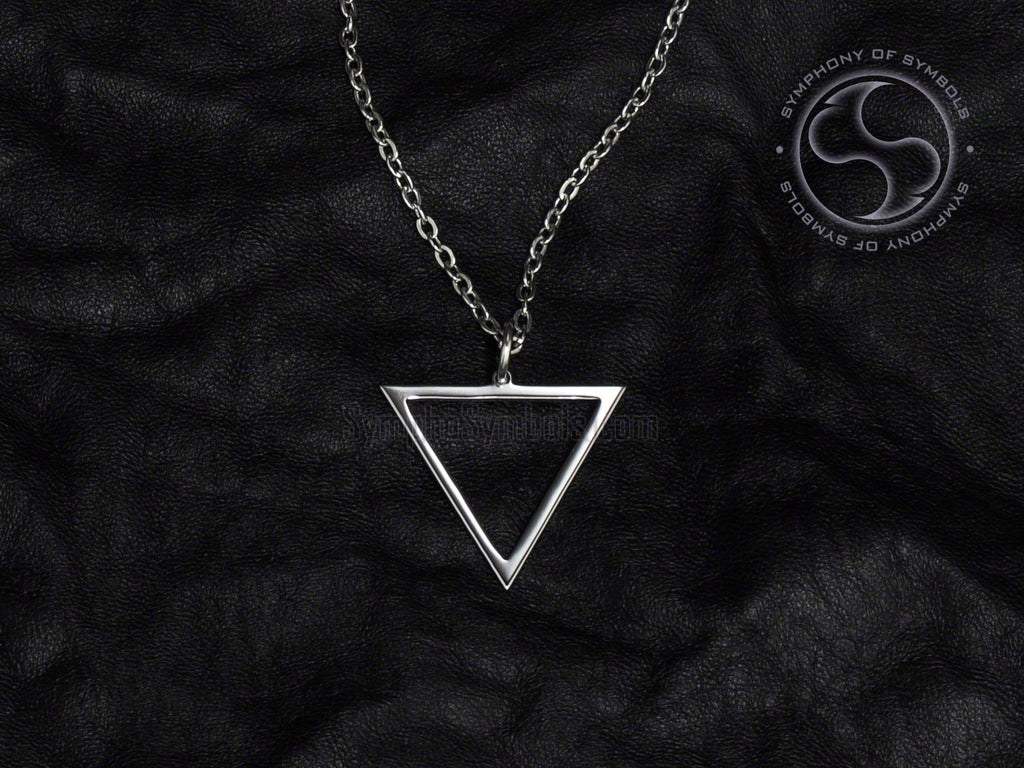 Stainless Steel Necklace with Alchemy Water Symbol