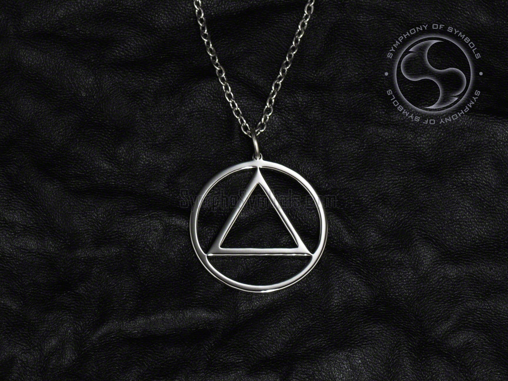 Stainless Steel Necklace with Alcoholics Anonymous Symbol