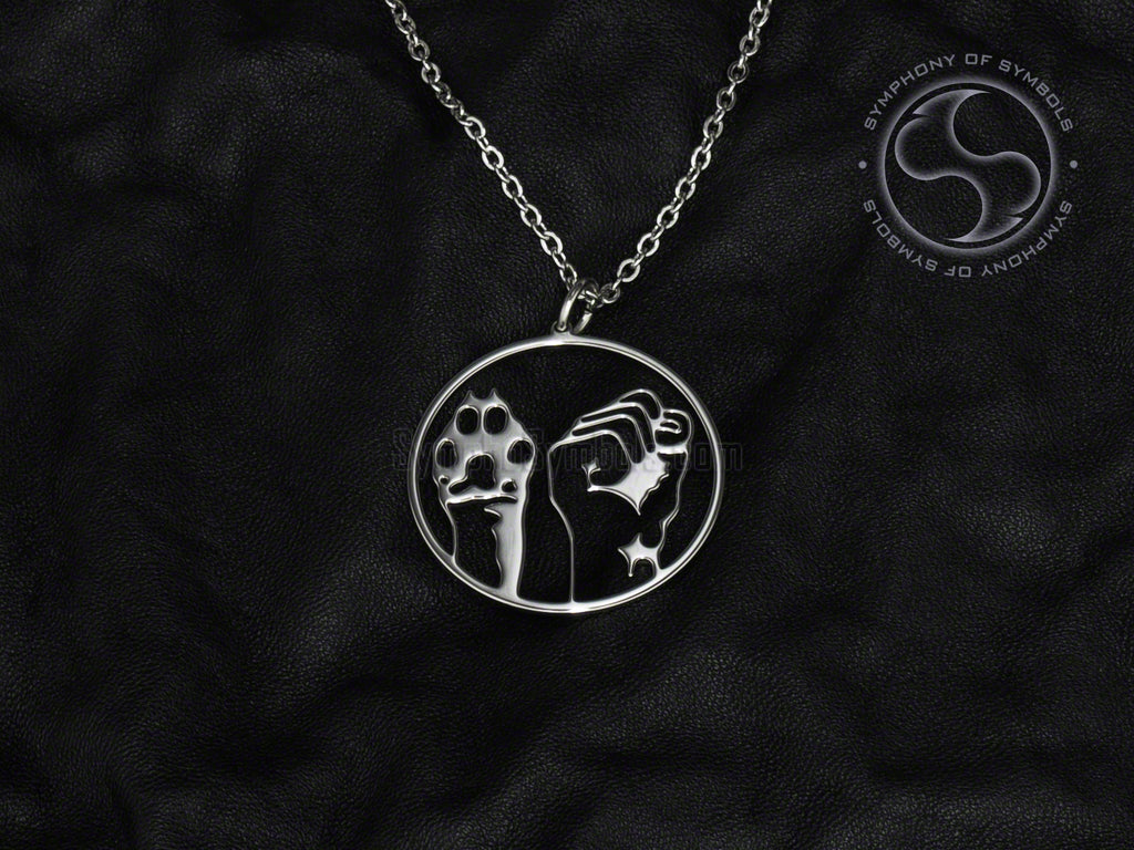 Stainless Steel Necklace with Animal Liberation Symbol