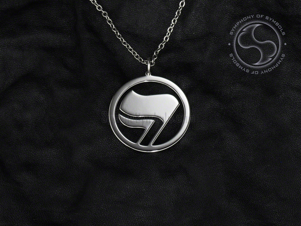Stainless Steel Necklace with Antifascist Action Symbol